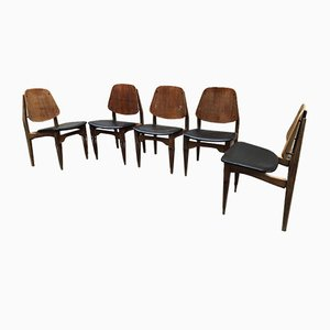 Vintage Italian Dining Chairs by Fratelli Proserpio, 1950s, Set of 5