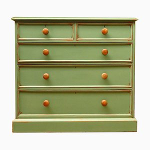 Antique Painted Botanical Green Chest of Drawers
