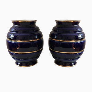 Vases Art Déco Bleus, 1930s, Set de 2