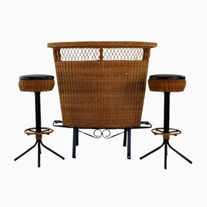 Rattan Bar with Barstools, 1960s, Set of 3