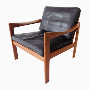 Teak and Leather Lounge Chair by Illum Wikkelsø for N. Eilersen, 1960s