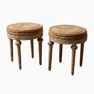19th Century Swedish Gustavian Round Stools, Set of 2