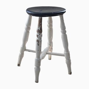Antique Victorian White Painted Farmhouse Stool