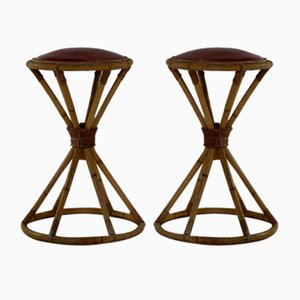 Belgian Rattan Stools, 1963, Set of 2