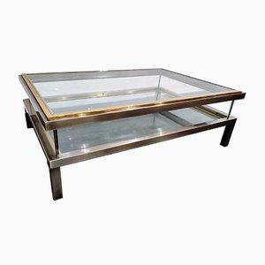 Table Basse Vintage avec Plateau Coulissant de Maison Jansen, 1970s