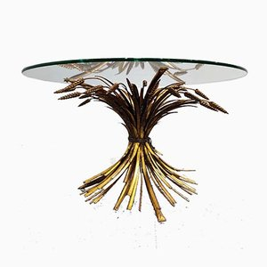 Vintage GIlt Metal Sheaf of Wheat Coffee Table, 1960s