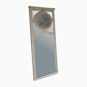 Französischer Trumeau Spiegel mit Ölgemälde von Amoretten