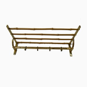Mid-Century Brass and Bamboo Wall Mounted Coat Rack, 1950s