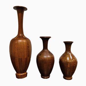 Vases Vintage en Bois de Decoene, 1970s, Set de 3