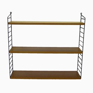 "Mid-Century Modular Shelf in Ash with Black Ladders by Kajsa & Nils ""Nisse"" for String"