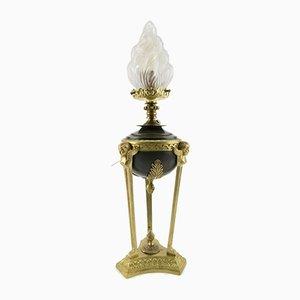 Lámpara de mesa estilo Imperio con pantalla de vidrio y bronce, años 20