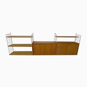Modulares Vintage Regal mit Containern in Esche mit weissen Leitern von Kajsa & Nisse Strinning für String