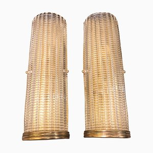 Mid-Century Brass and Glass Sconces by Gaetano Sciolari, 1970s, Set of 2