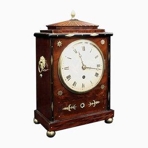 Georgianische Mahagoni & Messing Uhr mit Intarsien, 1820er