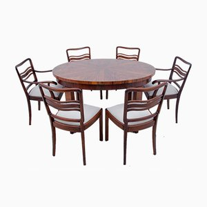 Art Deco Dining Table & Chairs Set, 1940s, Set of 7