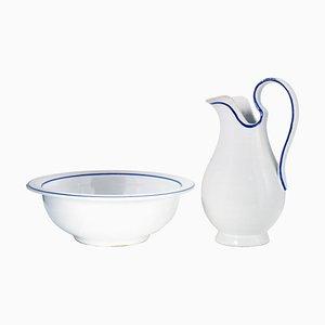 Italienisches Mid-Century Keramik und Krug Set aus Keramik in Weiß & Blau, 1950er