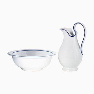 Large Mid-Century Italian White and Blue Ceramic Pitcher and Basin Set, 1950s