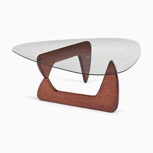 Table Basse Vintage avec Plateau en Verre Attribué à Isamu Noguchi