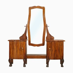 Antique Art Nouveau Walnut and Burl Walnut Beveled Mirror by Testolini e Salviati for Fratelli Testolini