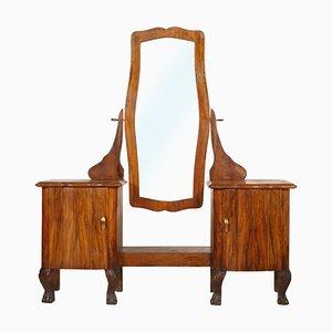 Antique Art Nouveau Walnut and Burl Walnut Beveled Mirror by Testolini e Salviati for Fratelli Testolini