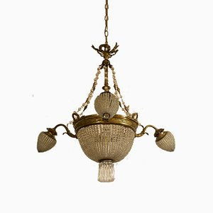 Antique Art Nouveau Italian Crystal and Chiseled Brass Chandelier, 1900s