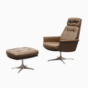 Leather Model Sedia Lounge Chair and Ottoman Set by Horst Brüning for Cor, 1960s
