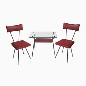 Table Basse et Chaises Mid-Century en Skai