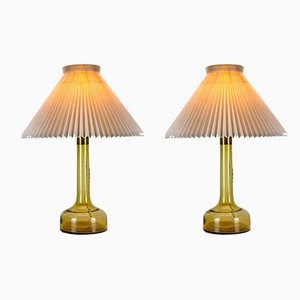 Danish Yellow Glass Ceiling Lamps by Le Klint for Holmegaard, 1960s, Set of 2