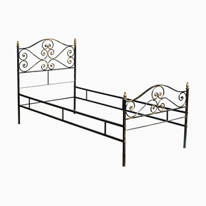 Vintage Italian Black and Gold Painted Wrought Iron Single Bed, 1950s