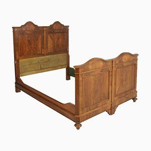 19th Century Neoclassical Solid Blond Walnut and Walnut Veneer Double Bed from Bassano Manufactures