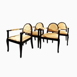 French Art Deco Armchairs, Set of 4