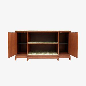 Wood and Onyx Marble Credenza by Emiel Veranneman