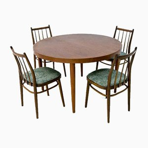 Danish Rosewood Dining Table & Chairs Set, 1960s, Set of 5