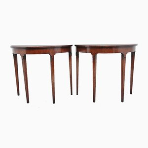 Mid-Century Inlaid Mahogany Console Tables, Set of 2