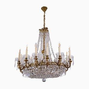 Großer Ovaler Vintage Kristallglas Kronleuchter mit 16 Leuchten, 1920er