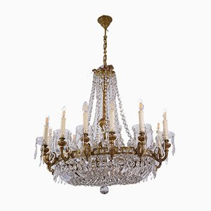Large Vintage Empire Style Oval Crystal Chandelier with 16 Lights, 1920s
