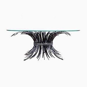 Französischer Glas und Metall Couchtisch von Robert Goossens für Goossens, 1970er