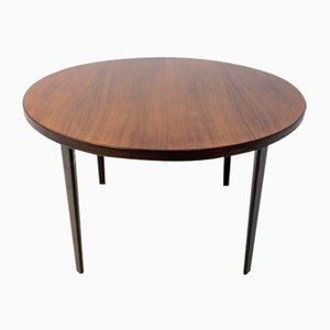 Danish Round Rosewood Folding Dining Table, 1960s