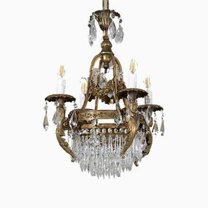 Vintage Empire Style Chandelier with 4 Lights, 1930s