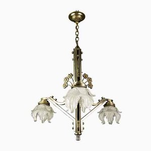 Art Nouveau Brass and Frosted Glass Floral Ceiling Lamp, 1930s