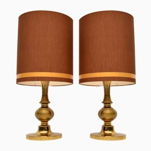 Vintage Italian Brass Table Lamps, 1960s, Set of 2