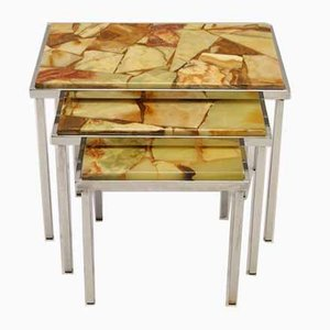 Vintage Green Marble Mimiset Nesting Tables, 1960s