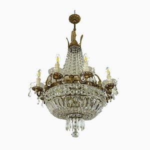 Vintage Empire Style Italian 8-Arm Ceiling Lamp, 1940s