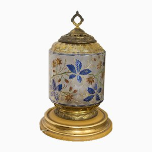 Antique Table Lamp with Pure Gold Floral Decor, 1900s