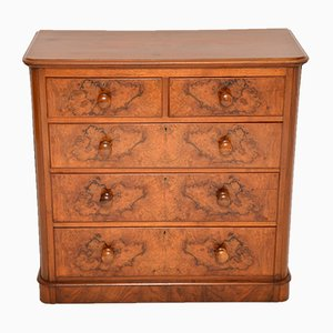 Antique Victorian Burl Walnut Chest of Drawers