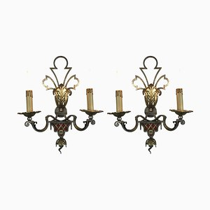 Gilded Iron and Silver Sconces from Banci, 1980s, Set of 2