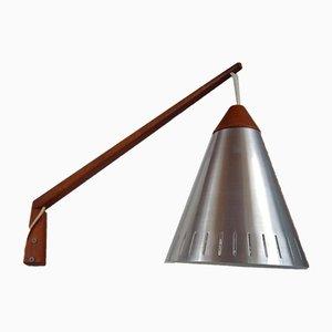 Vintage Teakholz Wandlampe, 1950er