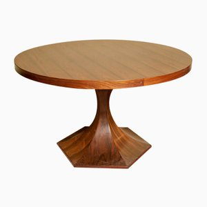 Mid-Century Round Rosewood Dining Table by Carlo de Carli