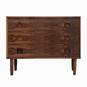 Mid-Century Rosewood Chest of 3-Drawers with round Drawer Handles