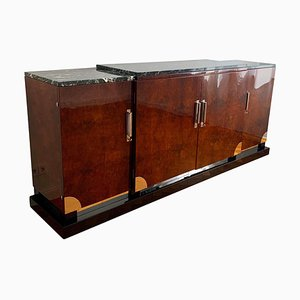 Art Deco Sideboard in Walnut Roots & Green Marble, Southern France, 1930s